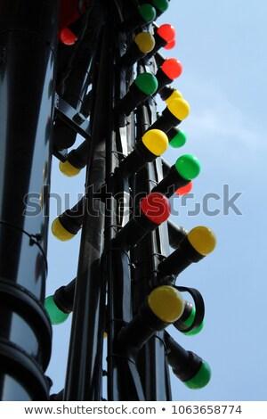 3d pessoas sinal de parada vermelho iluminação bulbo cinza Foto stock © Quka