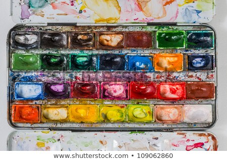 macro of a watercolor paint box stock photo © zerbor