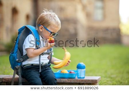 Okula geri elma eğlence solucan karakter Stok fotoğraf © Lightsource