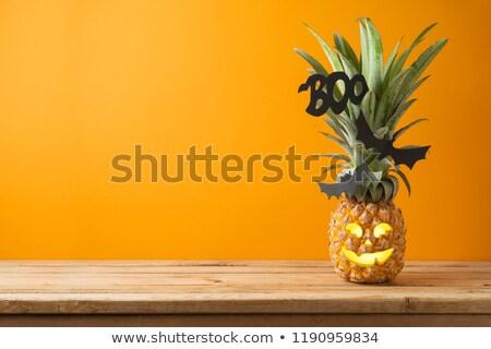 trópusi · halloween · lámpás · arc · ananász · sütőtök - stock fotó © KonArt