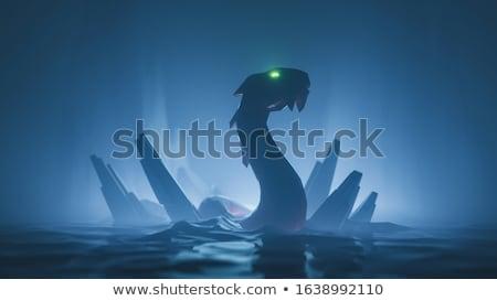 hátborzongató · sárkány · zöld · iguana · faág · test - stock fotó © fisher