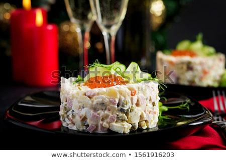Kaviár saláta asztal étterem család hotel Stock fotó © HASLOO
