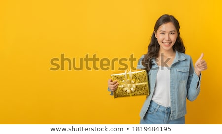 beautiful, young, excited christmas woman giving thumbs up  Stock photo © ichiosea