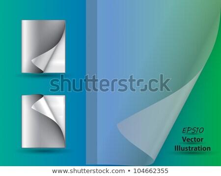 Gevouwen doorzichtigheid papier Blauw kantoor achtergrond Stockfoto © m_pavlov