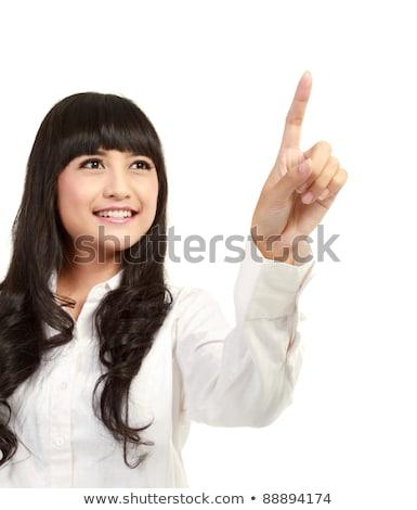 Atractivo mujer de negocios pantalla táctil botón moderna Foto stock © stevanovicigor