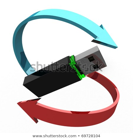 Computer flash drive around arrows illustration design stock photo © alexmillos