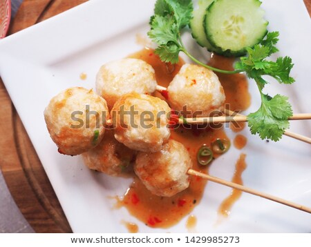 chinese food fried fish balls stock photo © bbbar