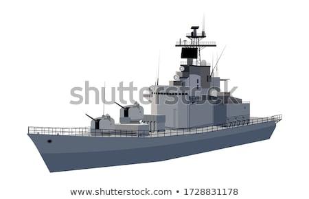 Savaş gemi siluet kule planı Stok fotoğraf © tshooter