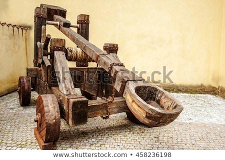 middeleeuwse · stenen · muur · man · oorlog · goud · strijd - stockfoto © hofmeester