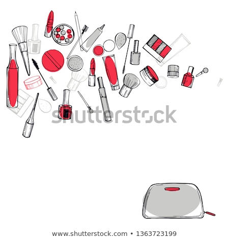 Sketch powder compact and lipstick Stock photo © kali