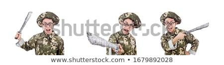 grappig · man · mes · geïsoleerd · witte · pistool - stockfoto © elnur