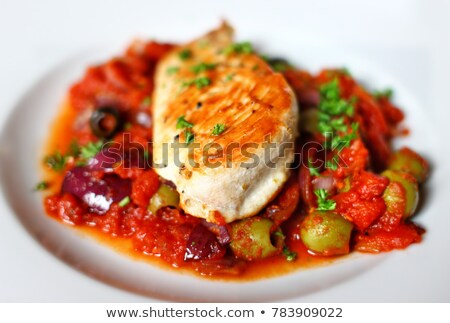 Chicken breast with tomato basil sauce stock photo © Moradoheath