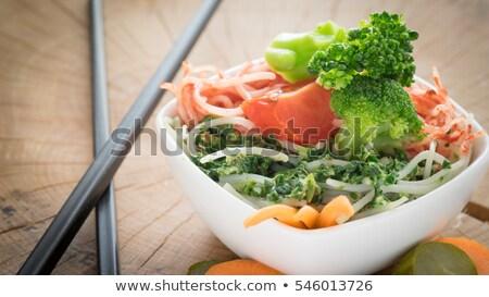 rizs · brokkoli · tál · piros · vegetáriánus · egészséges · étrend - stock fotó © merlot