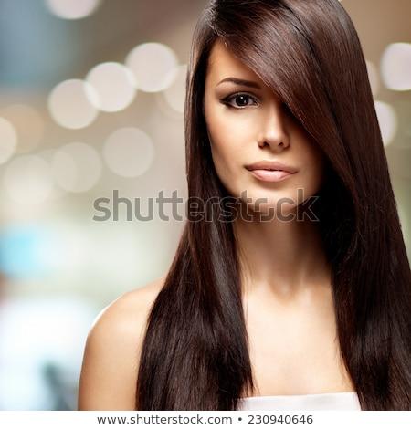 Czarny proste włosy doskonały skóry moda Zdjęcia stock © tommyandone