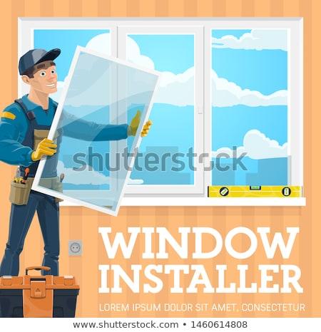 Janela instalação passo handyman carpinteiro eps Foto stock © Voysla