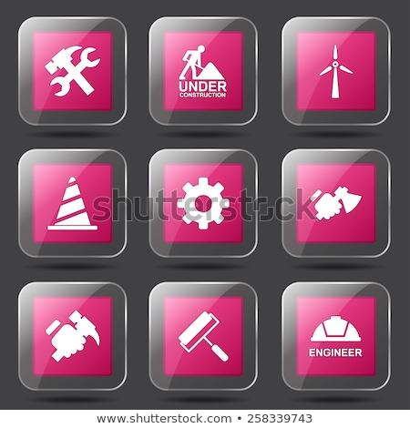Сток-фото: строительство · инструменты · квадратный · вектора · розовый · икона