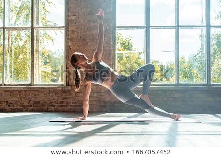 Edző nő palánk pozició fehér férfi Stock fotó © wavebreak_media
