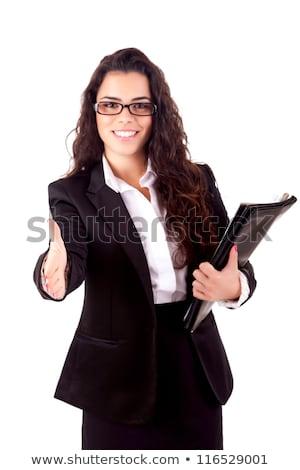 улыбаясь деловая женщина предлагающий рукопожатие белый портрет Сток-фото © wavebreak_media