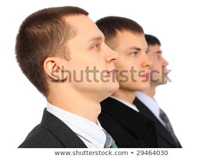 Három üzletemberek paródia arcok néz kamerába Stock fotó © Paha_L