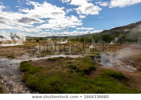 間欠泉 アイスランド お湯 蒸気 噴水 開始 ストックフォト © Hofmeester