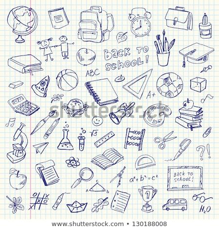 vissza · az · iskolába · rajz · gyűjtemény · könyv · földgömb · toll - stock fotó © igorij