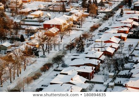Zdjęcia stock: Podmiejski · ulicy · zimą · stylizowany · przedmieście · ilustracja