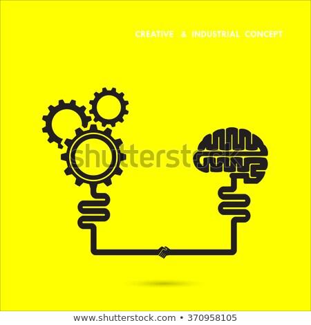 brain and gears on yellow background, vector stock photo © jabkitticha