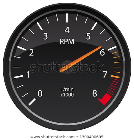 Simple vector tachometer with indicator in orange part, speedometer icon, performance measurement sy Stock photo © kurkalukas