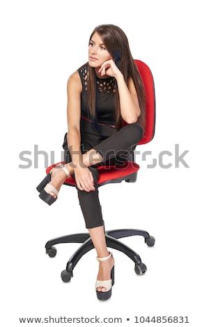 женщину · сидят · белый · руки - Сток-фото © stockfrank