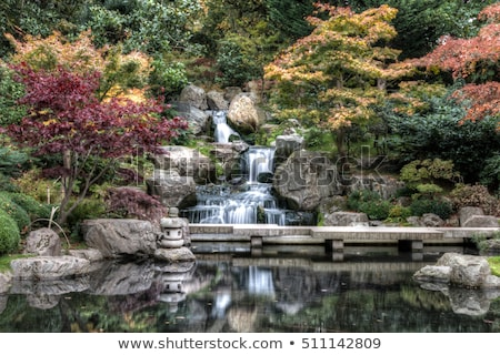 Waterfall in Japanese garden. Holland Park in London, UK. Stock photo © photocreo