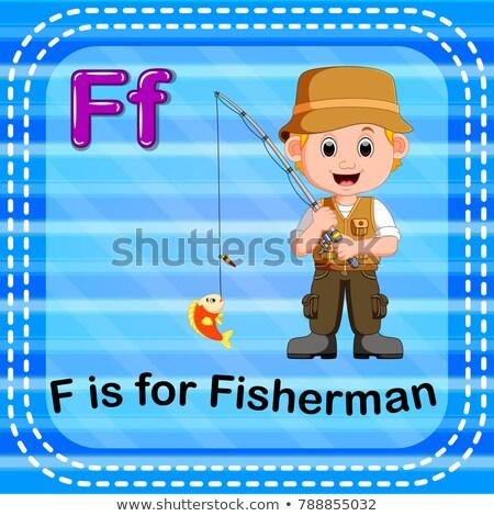 alfabeto · pescador · ilustração · criança · fundo · arte - foto stock © bluering