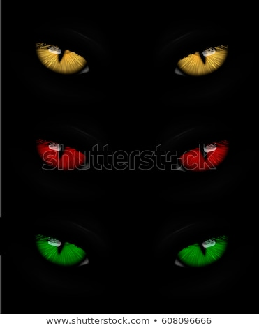 Stock photo: Set of cat eyes red, yellow and green
