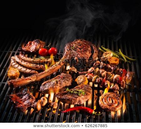 grillezett · hús · nyárs · szalonna · ropogós · zöldségek · étel - stock fotó © pavlovski