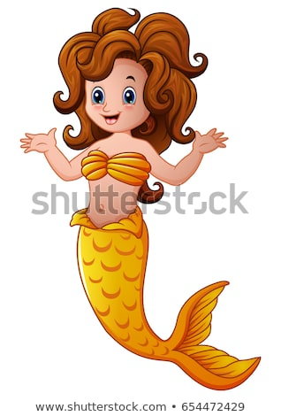 Cartoon mermaid waving hand under water. Vector illustration isolated on white background. stock photo © maia3000