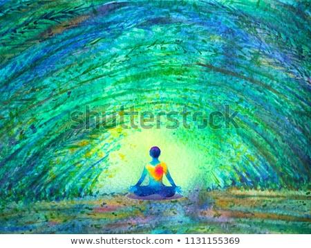 Jóga meditáció fa nő elöl sport Stock fotó © Tefi