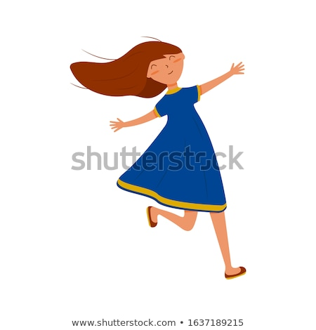 Vector flat style illustration of young pretty woman with a trav Stock photo © curiosity