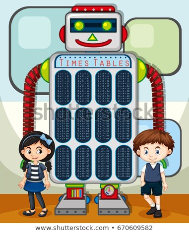 Times tables chart with kids and robot in background Stock photo © bluering