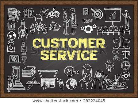 competitive analysis concept doodle icons on chalkboard stock photo © tashatuvango