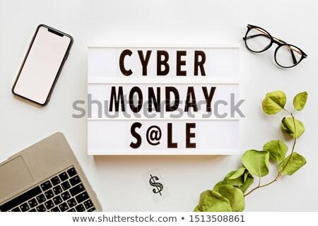 Cyber Monday Sale Phone Trolley Sign Stock photo © Krisdog
