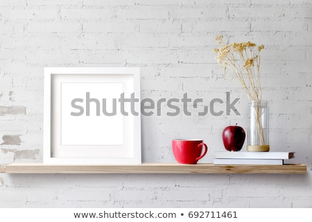 shelf photo frames brick background stock photo © romvo