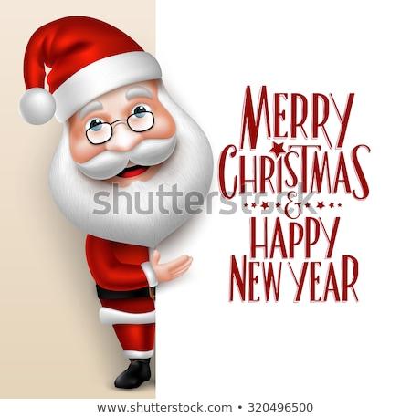 vector cartoon santa claus smile happy face decoration with spec stock photo © nikodzhi