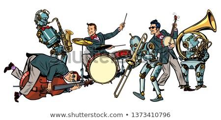 Dzsessz kő zsemle zenekar robotok pop art Stock fotó © studiostoks