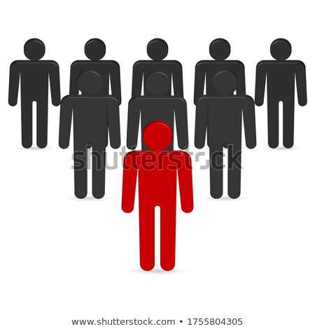 Set of 3D stick figures with team leader, vector illustration. stock photo © kup1984
