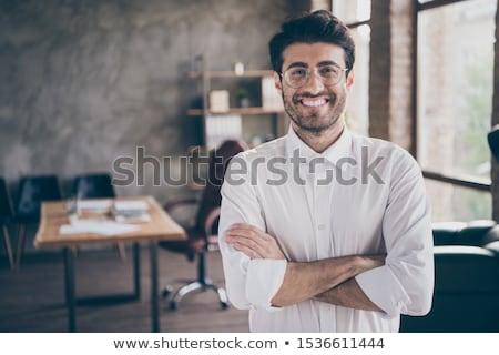 молодым · человеком · полу · ноутбука · счастливым · домой - Сток-фото © is2
