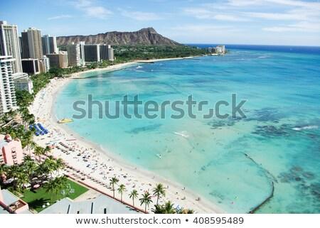 Waikiki tengerpart Honolulu kilátás gyémánt fej Stock fotó © dirkr