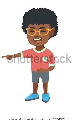 Afrikai fiú megfélemlítés valaki mutat ujj Stock fotó © RAStudio