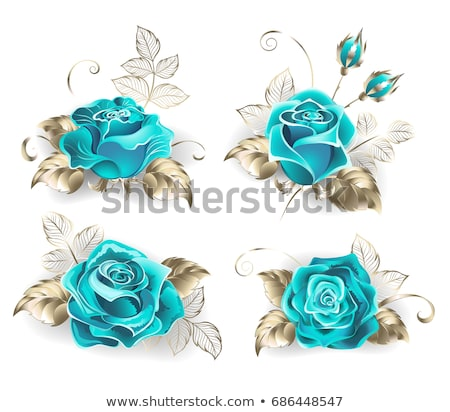White banner with turquoise roses Stock photo © blackmoon979