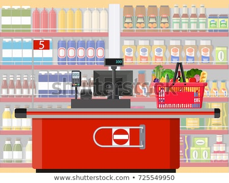 Supermarket checkout counter with cashier icon Stock photo © studioworkstock