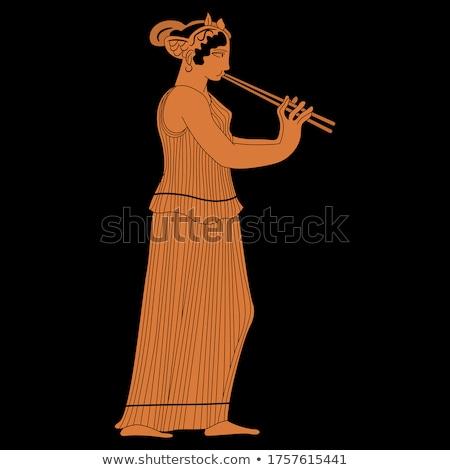 играет · флейта · портрет · счастливым · женщину - Сток-фото © is2