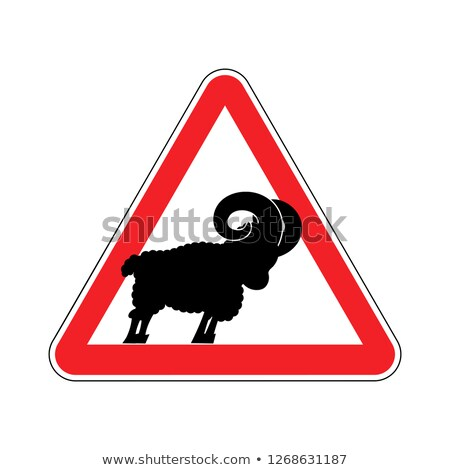 овец · дорожный · знак · желтый · черный · Blue · Sky · металл - Сток-фото © popaukropa